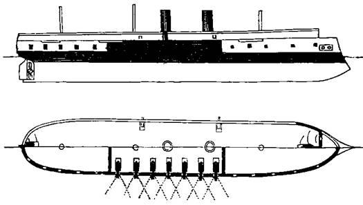 """Броненосный фрегат """"Кронпринц"""" (Схема бронирования и расположения артиллерии)"""