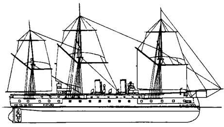 """Броненосный фрегат """"Кронпринц"""" (Наружный вид. 1888 г.)"""
