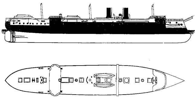 """Броненосный фрегат """"Кениг Вильгельм"""" (Схема бронирования и план аерхней палубы)"""