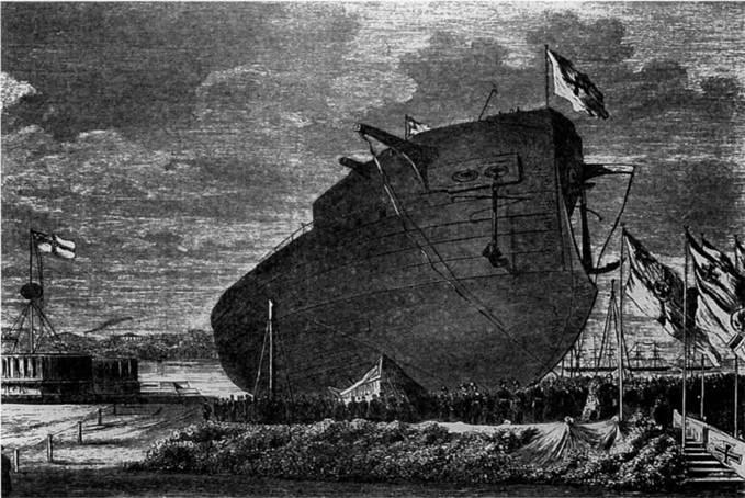 """Броненосец """"Фридрих дер Гроссе"""" перед спуском на воду. С гравюры того времени."""