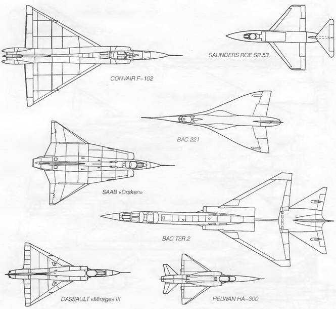 Формы треугольного крыла сверхзвуковых самолетов (продолжение)