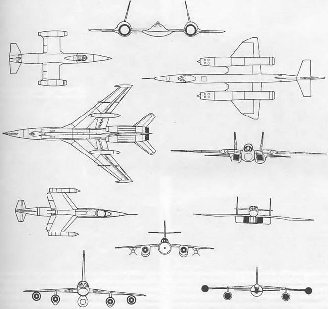Схемы размещения двигателей на сверхзвуковых самолетах