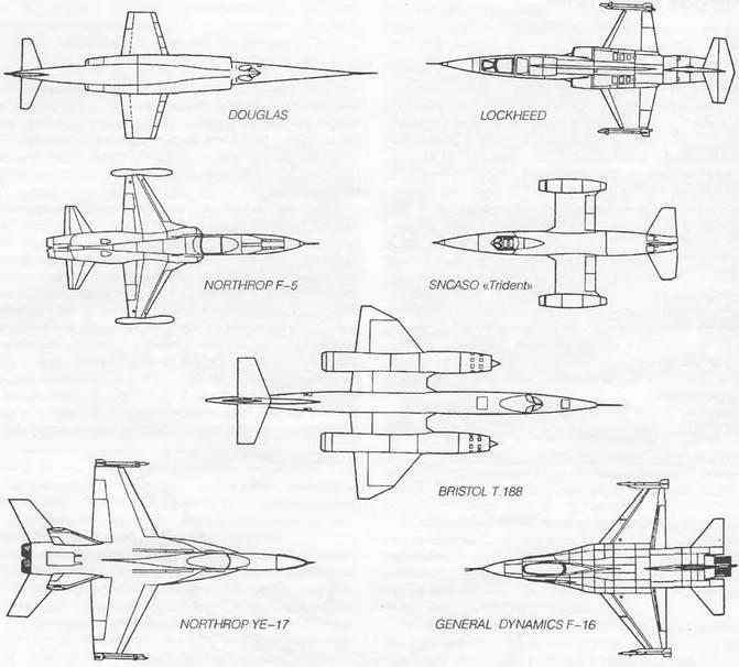 Формы прямого крыла сверхзвуковых самолетов