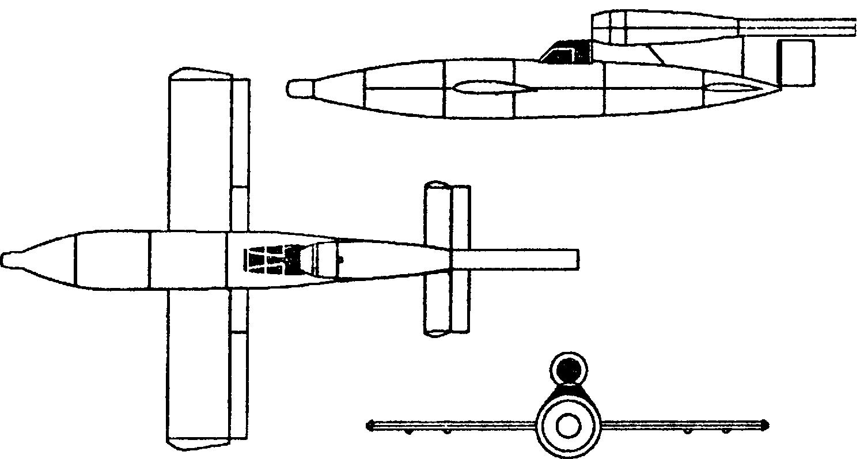 """Редкий вариант самолета–снаряда """"Фау–1"""" с пилотом на борту. Он должен был навести снаряд на цель и выпрыгнуть с парашютом"""