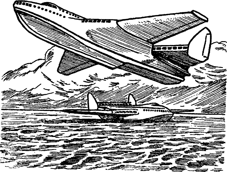 Над морем могут летать гидросамолеты практически неограниченных размеров, полагал Г. М. Бериев