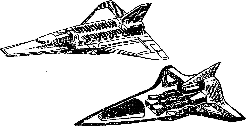 Схема многоцелевого высотно–космического самолета, созданного в Петербурге