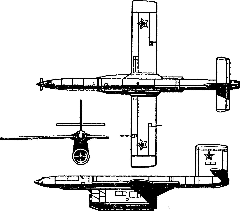 Тактический беспилотный самолет–разведчик одноразового действия ТБР–1 (Ла–17Р): длина