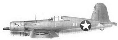 38. Истребитель F4U-1 «белый 10» «GUS'S GOPHER» 1-го лейтенанта Уильбура Дж. Томаса, эскадрилья VMF-213, Гуадалканал, июль 1943г.