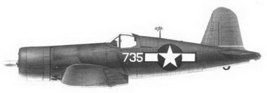 42. Истребитель F4U-1 «белый 735» Bu№17735 кэптена Артура Р. Конэнта, эскадрилья VMF-215, Баракома/Торокина, январь 1944г