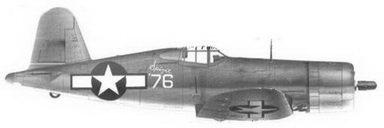 44. Истребитель F4U-1 «белый 76» «Spirit of 76» майора Роберта Г. Оуинса, эскадрилья VMF-215, Мунда, август 1943г.