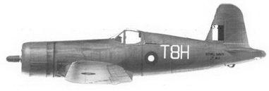 46. Истребитель «Корсар II» «белый T8H/JT410» саб-лейтенанта Дональда Дж. Шеппарда, 1836-я эскадрилья Fleet Air Arm, авианосец «Викториес», январь 1945г.