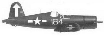 49. Истребитель F4U-1D «белый 184» лейтенанта Уиллиса Г. Лэни, эскадрилья VF-84, авианосец «Банкер Хилл», февраль 1945г.