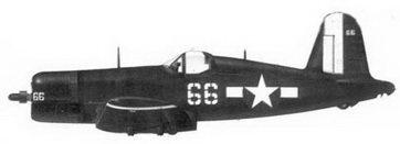 50. Истребитель F4U-1D «белый 66» энсина Альфреда Лерча, эскадрилья VF-10, авианосец «Интрепид», апрель 1945г.