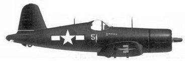 54. Истребитель F4U-1D «белый 51» 1-го лейтенанта Роберта Уэйда, эскадрилья VMF-323, Окинава, май 1945г.
