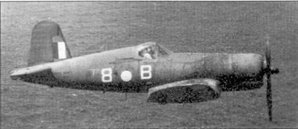 Истребитель «Корсар II» JT422. Окраска самолета типична для всех 36 «Корсаров» из 47-го истребительного авиакрыла, которое базировалось в 1944-45г.г. на борту авианосца «Викториес». Хорошо виден буквенно-цифровой код 1836-й эскадрильи. В кабине истребителя — лейтенант Кнайт.
