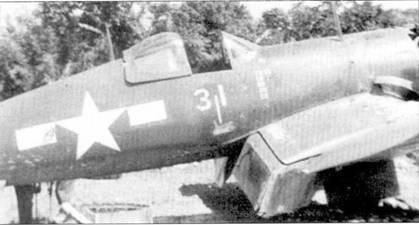 Истребитель F4U-1D с бортовым номером «31» из эскадрильи VMF-323, Окапана, конец апреля 1945г. Истребитель — один из двух, на которых летал 1-й лейтенант Фрэнсис А. Террилл.