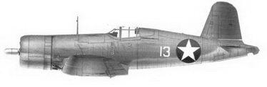 2. Истребитель F4U-1 «белый 13» Bu№02350 2-го лейтенанта Кеннета А. Уэлша, эскадрилья VMF-124, Мунда, август 1943г.