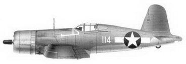 3. Истребитель F4U-1 «белый 114» 2-го лейтенанта Кеннета А. Уэлша, эскадрилья VMF-124, Мунда, август 1943г.