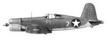5. Истребитель F4U-1 «белый 7» «DAPHNE С» Bu№02350 кэптена Джеймса Н. Каппа, эскадрилья VMF-213, Гуадалканал, июль 1943г.