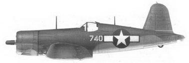 13.Истребитель F4U-1A «белый 740» Bu№17740 командира эскадрильи VMF-214 майора Грегори Бойингтоуна, Велла-Лавелла, декабрь 1943г.