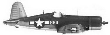 14. Истребитель F4U-1A «белый 883» Bu№17883 командира эскадрильи VMF-214 майора Грегори Бойингтоуна, Велла-Лавелла, декабрь 1943г.
