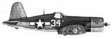 22. Истребитель F4U-1A «белый 34» «L.A. CITY LIMITS» Bu№17932 лейтенанта Дориса С. Фримэна, эскадрилья VF-17, Ондонга, ноябрь 1943г.