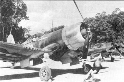 Истребитель F4U-1«Корсар» с бортовым номером «465» из эскадрильи VMF-222, остров Грин, 1944г- В Юго-западной части Тихого океана летчики VMF-222 сбили 50 японских самолетов. Боевой счет эскадрильи еще вырос в ходе сражений над Филиппинами и Окинавой. Летчики VMF-222 одержат последние три победы в воздушных боях второй мировой войны.