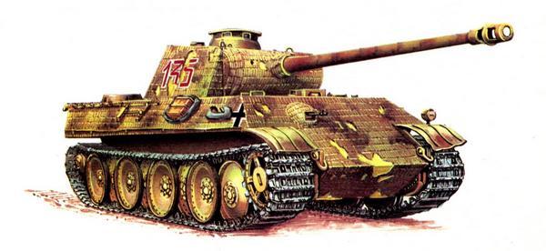 Panther AusfG. 1-я рота 12-го танкового полка СС (SS Panzer Regiment 12), Франция, июнь 1944г.