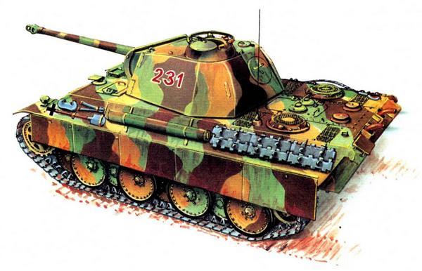 Panther AusfG. 1-й батальон 11-й танковой дивизии (Pz.Abt.1, 11.Panzer Divizion), Германия, апрель 1945г.