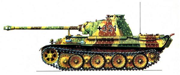 Panther AusfG. 1-й батальон 116-й танковой дивизии (Pz.Abt.1, 116.Panzer Divizion). Камуфляж, типичный для конца войны.