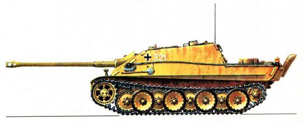 Jagdpanther. 3-я рота 1-го батальона 130-го учебного танкового полка (3/Pz.Abt.1, Pz.Rgt.130), февраль 1945г.