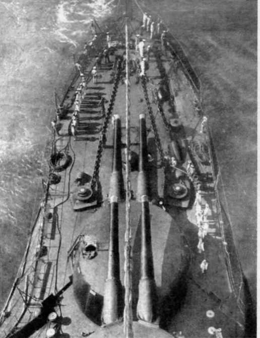 """Носовые линейно-возвышенные башенные установки 343-мм орудий на линкорах типа """"Орион''"""
