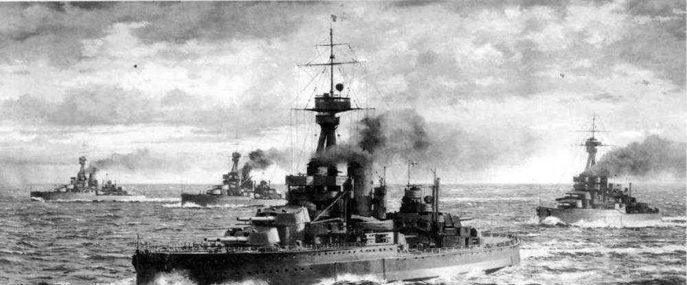 """Эскадра линейных кораблей типа """"Орион"""" в походе.С рисунка того времени."""