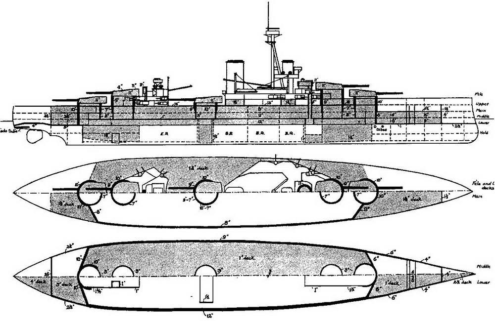 """Линейный корабль """"Орион"""". 1909 г. (продольный разрез и планы палуб с указанием бронирования) Из книги О. Parkes British Battleships. London. 1966."""