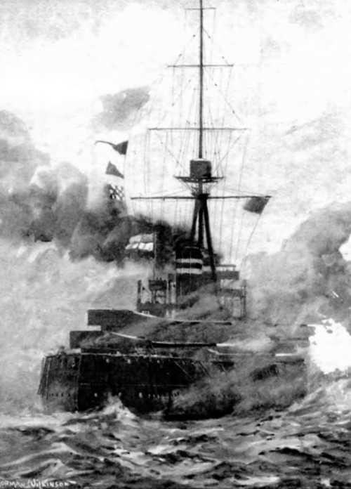 """''Орион"""" в Ютландском сражении. С рисунка того времени"""