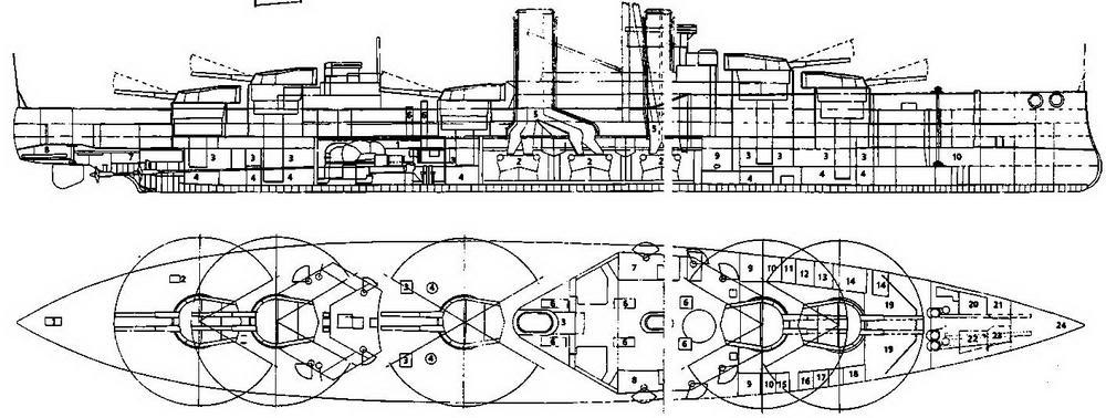"""Линейный корабль """"Орион"""". 1912 г. (продольный разрез, вид сверху с указанием секторов наведения орудий)"""