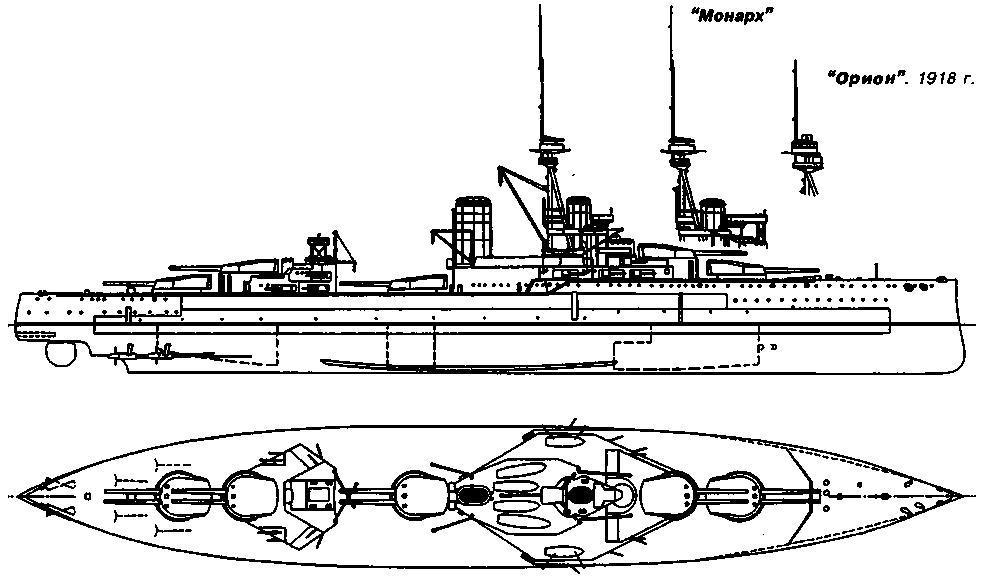"""Линейный корабль """"Орион"""". 1909 г. (наружный вид и вид сверху)"""