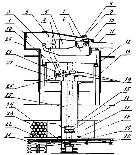 """Продольный разрез 343-мм орудийной башенной установки линкоров типа """"Орион"""" с указанием пути подачи снарядов"""