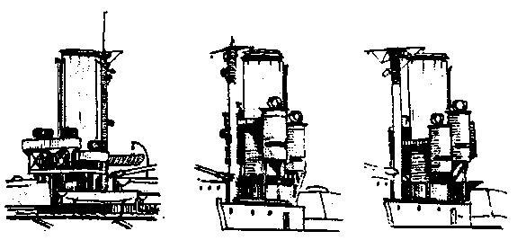 """Размещение прожекторов на линейных кораблях типа """"Кинг Джордж V"""" 1912 г.: """"Центурион"""". Сдвоенные 610-мм прожекторе на платформах вокруг кормовой дымовой трубы (слева). 1917 г.: """"Кинг Джордж V"""" (в центре), """"Центурион""""и """"Аякс""""(слева). Боевые 914-мм прожектора на поворотных колпаках прожекторных рубок, установленных с двух сторон кормовой дымоаой трубы. (Из книги О. Parkes British Battleships. London. 1966.)"""