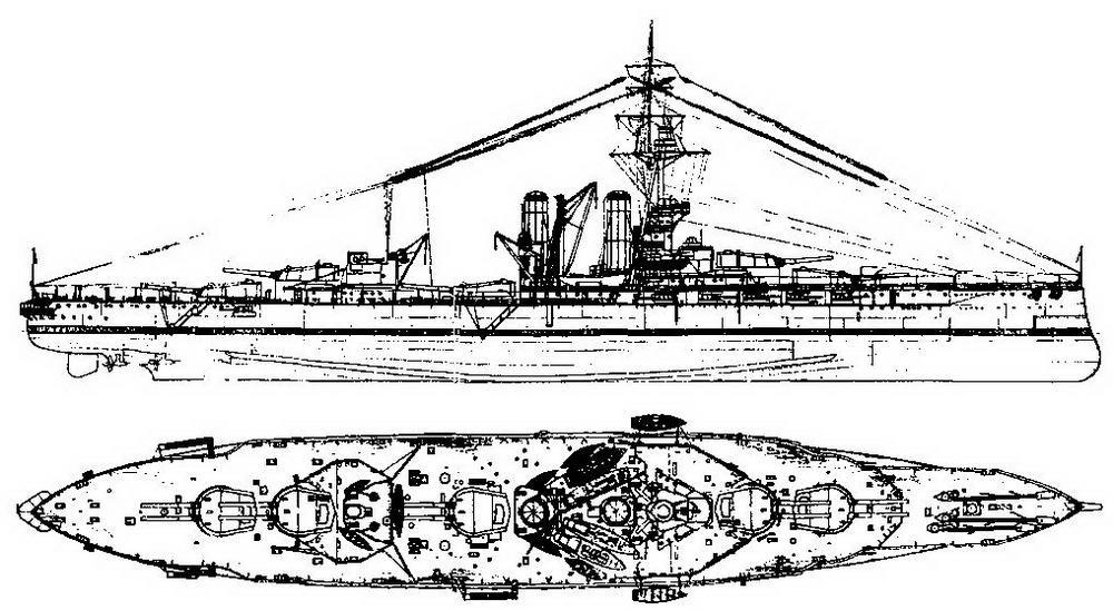 """Линейный корабль """"Айрон Дюк"""". Август 1914 г. (наружный вид и вид сверху)"""