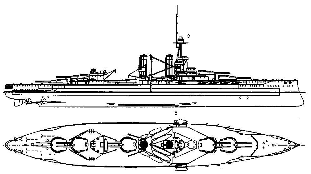 """Линейный корабль """".Айрон Дюк"""". 1916 г. (наружный вид и вид свержу)"""