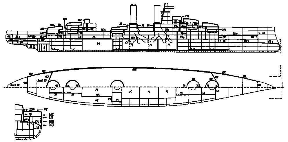 """Линейный корабль """"Айрой Дюк"""" (продольный разрез, планы палуб и сечение в районе миделя с указанием бронирования)"""