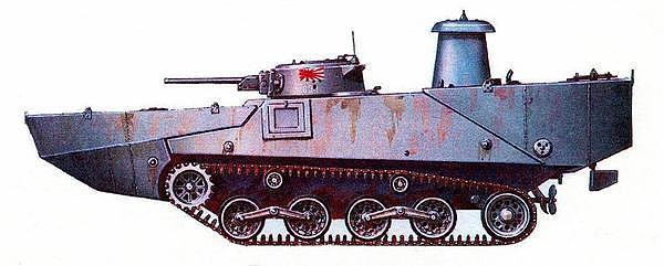 Плавающий танк «Тип 2» («КА-МИ»). 101-й специальный морской десантный отряд, Филиппины, залив Лейте, 1944 год.