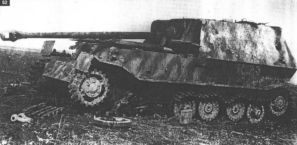 """""""Фердинанд"""", поврежденный сосредоточенным обстрелом крупнокалиберных орудий корпусной и самоходной артиллерии. Полоса обороны 70-й армии, июль 1943 г."""