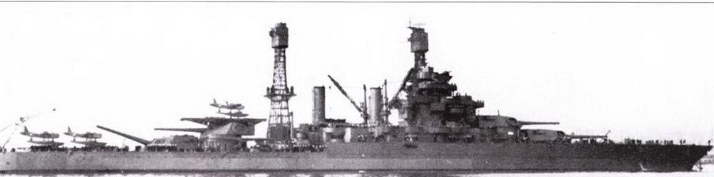 Ремонт «Колорадо» начался уже после начала войны. Работы поэтому завершены в полном объеме не были. Корабль вернулся в боевой состав флота в конце марша 1942г. Выполнить модернизацию по образу и подобию «Теннеси» не удалось. Не нашлось даже щитов для орудий 5 дюймов/25 калибров. Единственные видимые следствия ремонта — противоторпедные були на бортах корпуса и антенна радиолокатора FC в верхней чисти фок-мачты.