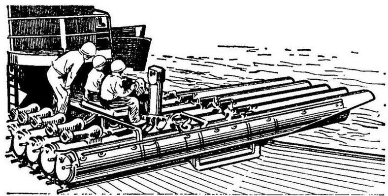 Рис. 19. Надводный поворотный пятитрубный торпедный аппарат