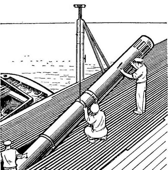 """Рис. 24. Погрузка противолодочной электрической торпеды Мк. 45 """"Астор"""" на подводную лодку"""