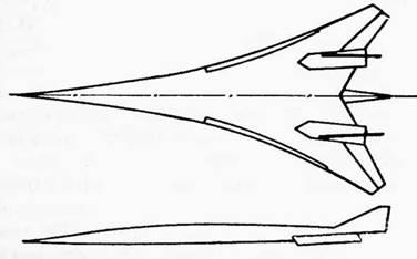 Схема сверзвукового пассажирского самолета, исследовавшаяся в NASA 20 лет спустя после появления проекта самолета А-55
