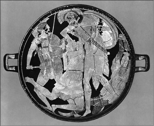 Ахилл, убивающий Пенфесилею. Роспись аттического краснофигурного килика из Вульчи. 480–470 гг. до н. э.