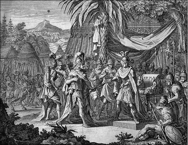 Фалестра встречается с Александром Македонским. Гравюра 1696 г.